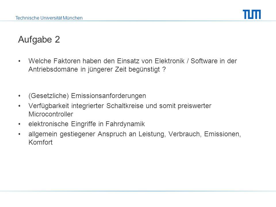 Technische Universität München Aufgabe 2 Welche Faktoren haben den Einsatz von Elektronik / Software in der Antriebsdomäne in jüngerer Zeit begünstigt .