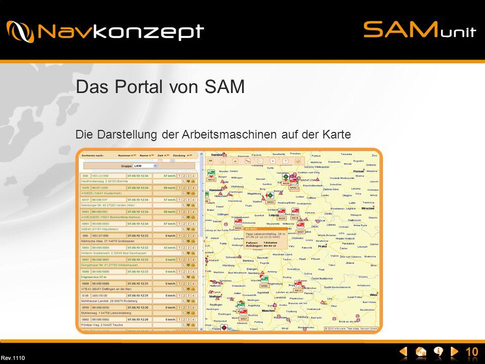 Rev.1110 Das Portal von SAM Die Darstellung der Arbeitsmaschinen auf der Karte
