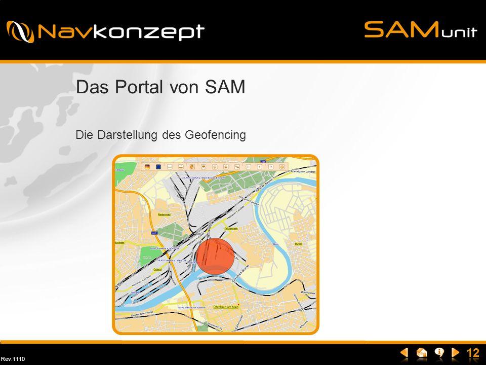 Rev.1110 Das Portal von SAM Die Darstellung des Geofencing