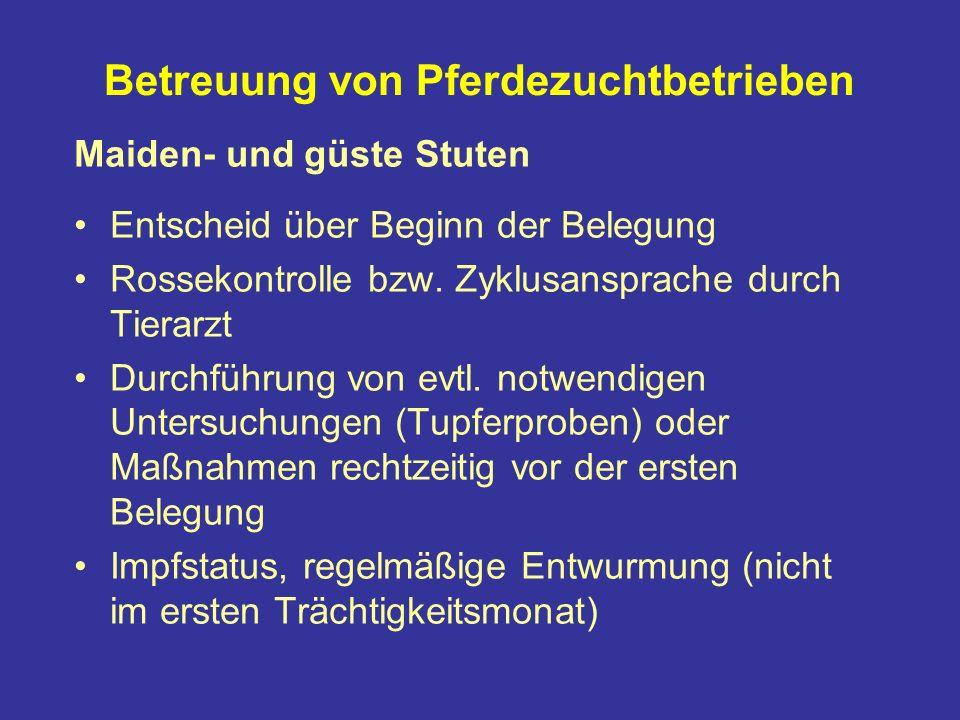 Betreuung von Pferdezuchtbetrieben Maiden- und güste Stuten Entscheid über Beginn der Belegung Rossekontrolle bzw.