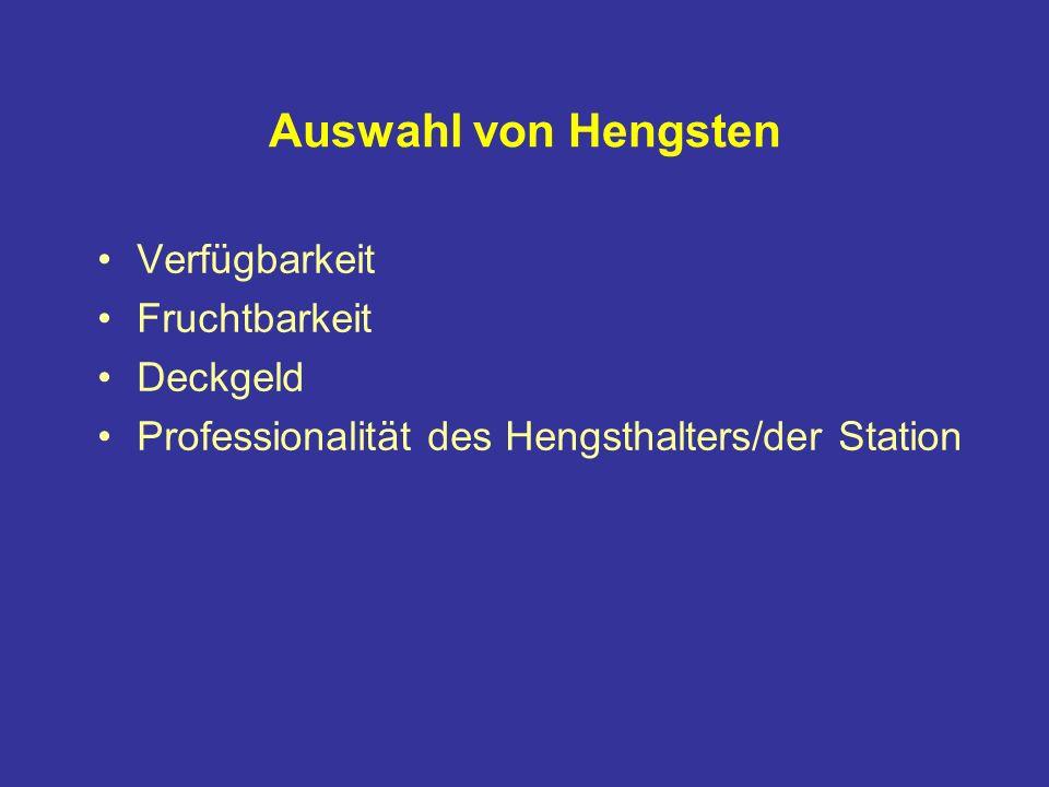 Auswahl von Hengsten Verfügbarkeit Fruchtbarkeit Deckgeld Professionalität des Hengsthalters/der Station
