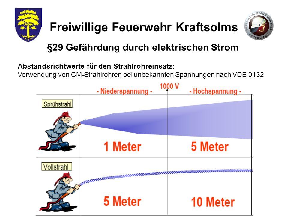 Freiwillige Feuerwehr Kraftsolms Abstandsrichtwerte für den Strahlrohreinsatz: Verwendung von CM-Strahlrohren bei unbekannten Spannungen nach VDE 0132