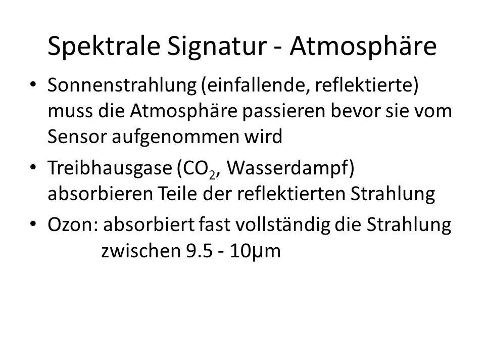 Spektrale Signatur - Atmosphäre Sonnenstrahlung (einfallende, reflektierte) muss die Atmosphäre passieren bevor sie vom Sensor aufgenommen wird Treibhausgase (CO 2, Wasserdampf) absorbieren Teile der reflektierten Strahlung Ozon: absorbiert fast vollständig die Strahlung zwischen 9.5 - 10 μ m