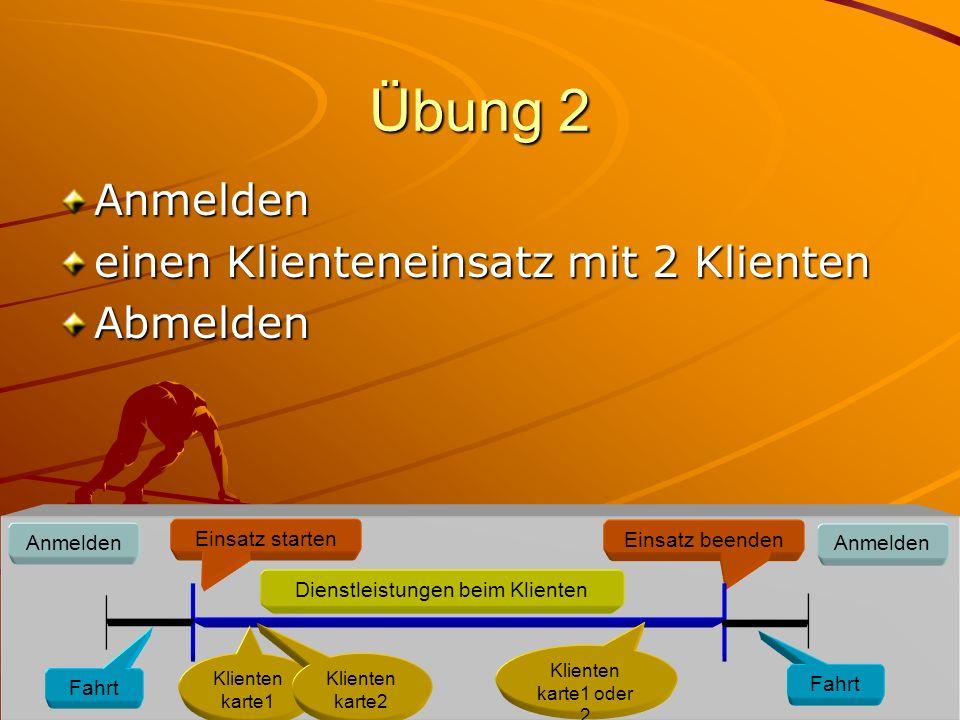 Übung 2 Anmelden einen Klienteneinsatz mit 2 Klienten Abmelden Anmelden Einsatz starten Dienstleistungen beim Klienten Einsatz beenden Anmelden Klienten karte1 Fahrt Klienten karte1 oder 2 Fahrt Klienten karte2