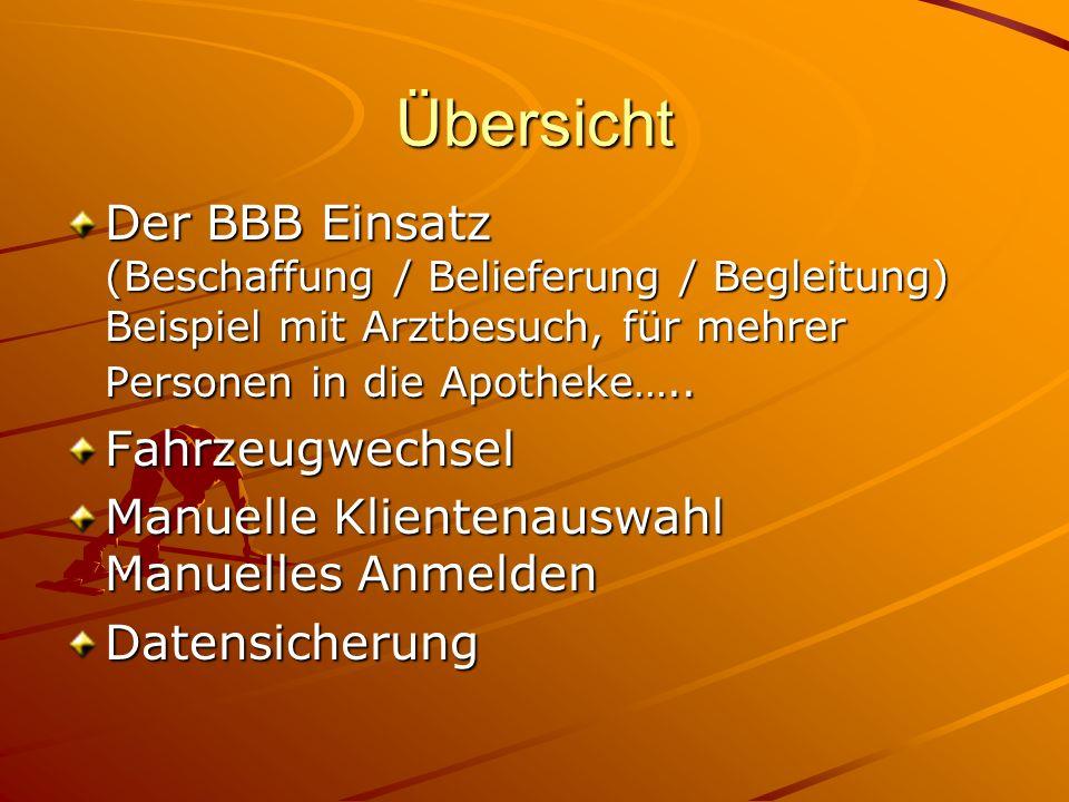 Übersicht Der BBB Einsatz (Beschaffung / Belieferung / Begleitung) Beispiel mit Arztbesuch, für mehrer Personen in die Apotheke…..