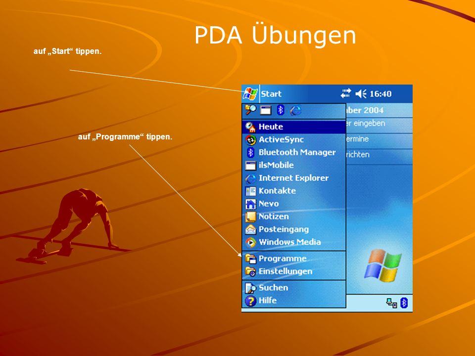 auf Start tippen. PDA Übungen auf Programme tippen.