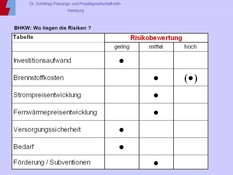 Dr. Schillings Planungs- und Projektgesellschaft mbh Hamburg BHKW: Wo liegen die Risiken ?