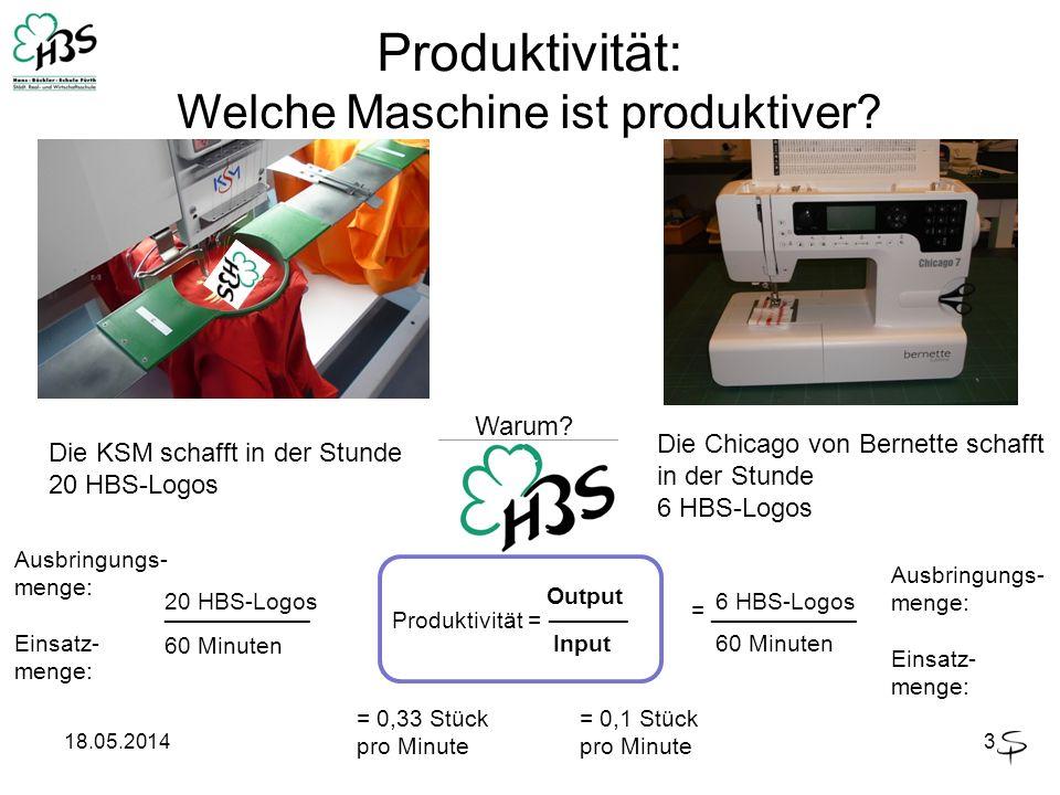 18.05.20143 Produktivität: Welche Maschine ist produktiver? Warum? Die KSM schafft in der Stunde 20 HBS-Logos Die Chicago von Bernette schafft in der