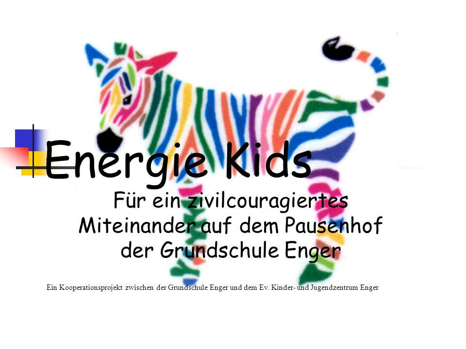 die Errichtung einer Basisstation (Bauwagen auf dem Schulhof) die, für alle offensichtlich, für die Konfliklöser/innen (Energie Kids) zu Verfügung steht,