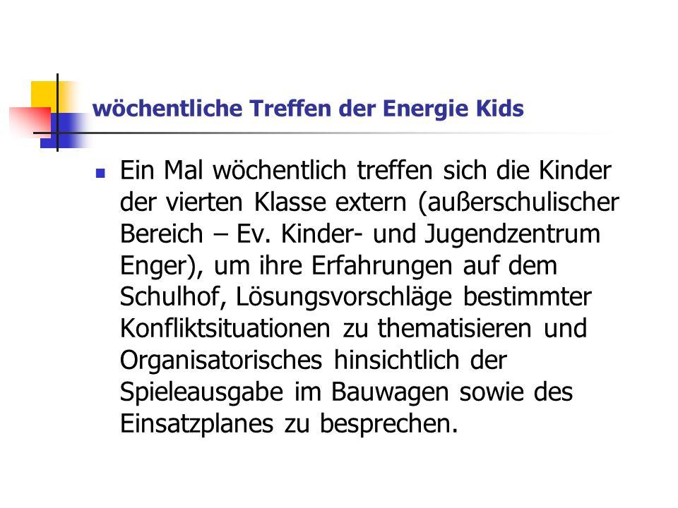 wöchentliche Treffen der Energie Kids Ein Mal wöchentlich treffen sich die Kinder der vierten Klasse extern (außerschulischer Bereich – Ev. Kinder- un