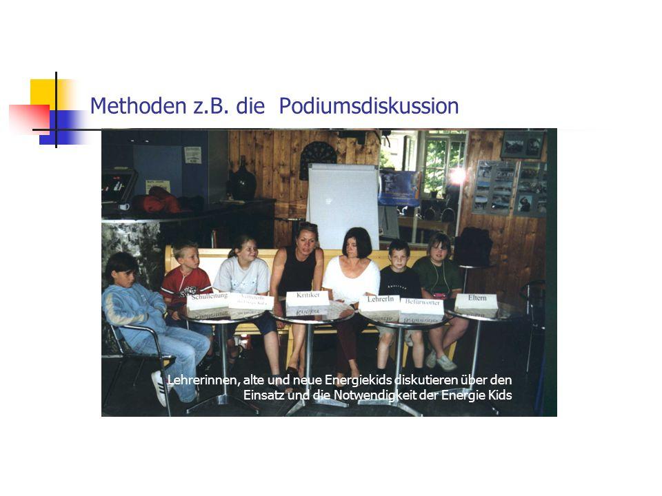 Methoden z.B. die Podiumsdiskussion Lehrerinnen, alte und neue Energiekids diskutieren über den Einsatz und die Notwendigkeit der Energie Kids