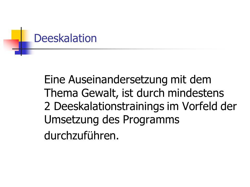 Deeskalation Eine Auseinandersetzung mit dem Thema Gewalt, ist durch mindestens 2 Deeskalationstrainings im Vorfeld der Umsetzung des Programms durchzuführen.