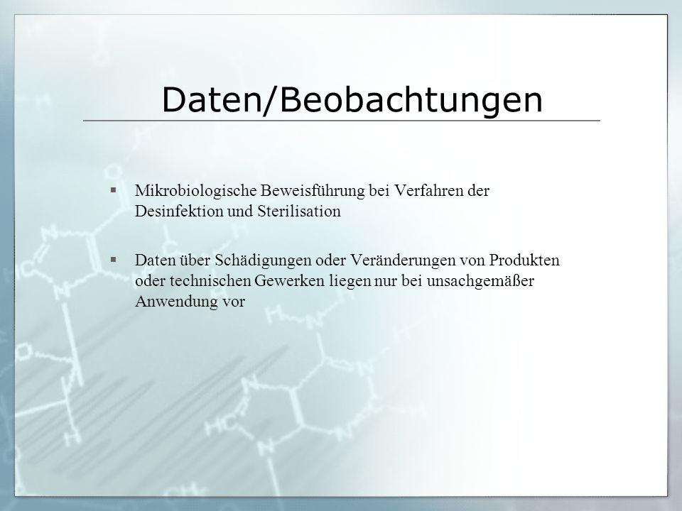 Daten/Beobachtungen Mikrobiologische Beweisführung bei Verfahren der Desinfektion und Sterilisation Daten über Schädigungen oder Veränderungen von Pro