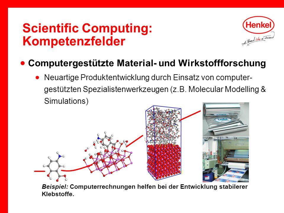 Scientific Computing: Kompetenzfelder Beispiel: Computerrechnungen helfen bei der Entwicklung stabilerer Klebstoffe. Computergestützte Material- und W