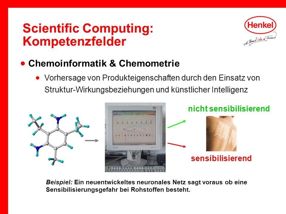 Scientific Computing: Kompetenzfelder Beispiel: Ein neuentwickeltes neuronales Netz sagt voraus ob eine Sensibilisierungsgefahr bei Rohstoffen besteht