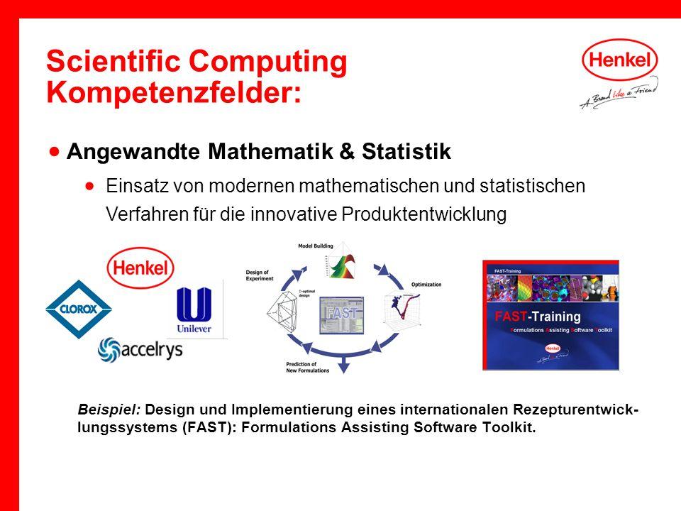 Scientific Computing Kompetenzfelder: Beispiel: Design und Implementierung eines internationalen Rezepturentwick- lungssystems (FAST): Formulations As