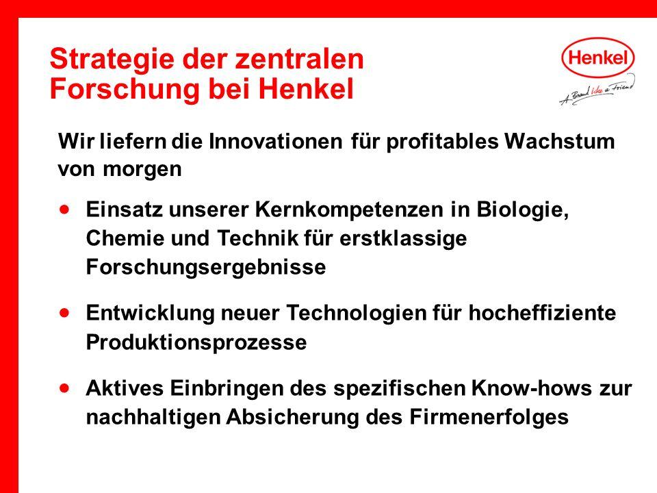 Strategie der zentralen Forschung bei Henkel Wir liefern die Innovationen für profitables Wachstum von morgen Einsatz unserer Kernkompetenzen in Biolo
