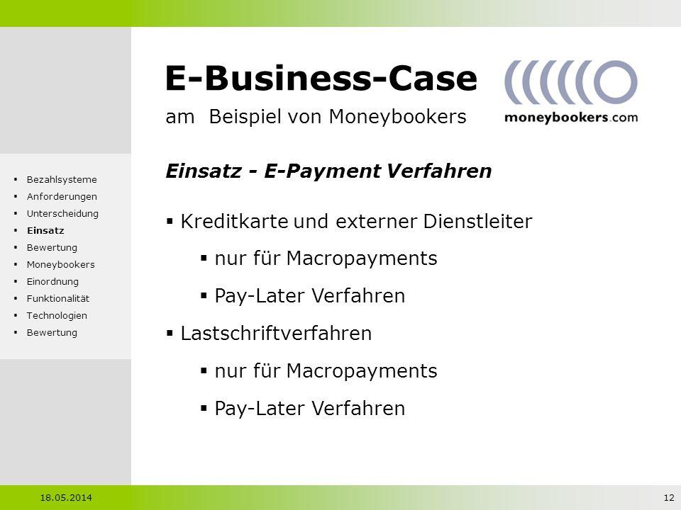 E-Business-Case am Beispiel von Moneybookers Einsatz - E-Payment Verfahren Kreditkarte und externer Dienstleiter nur für Macropayments Pay-Later Verfa