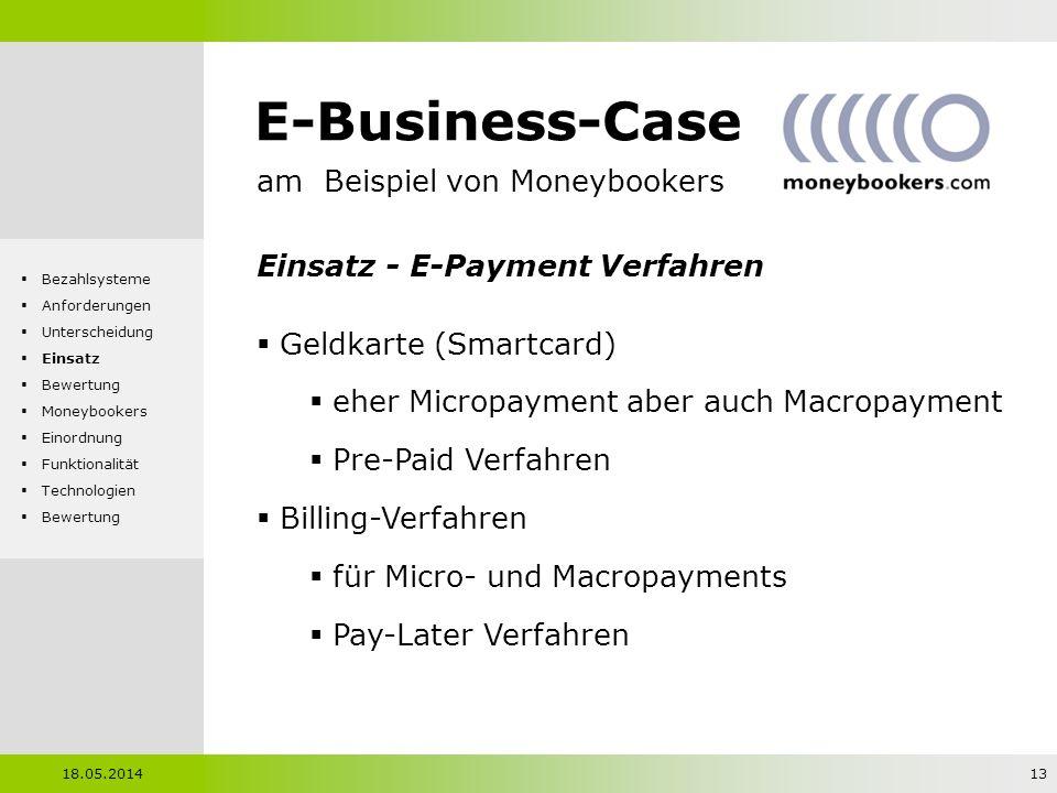 E-Business-Case am Beispiel von Moneybookers Einsatz - E-Payment Verfahren Geldkarte (Smartcard) eher Micropayment aber auch Macropayment Pre-Paid Ver