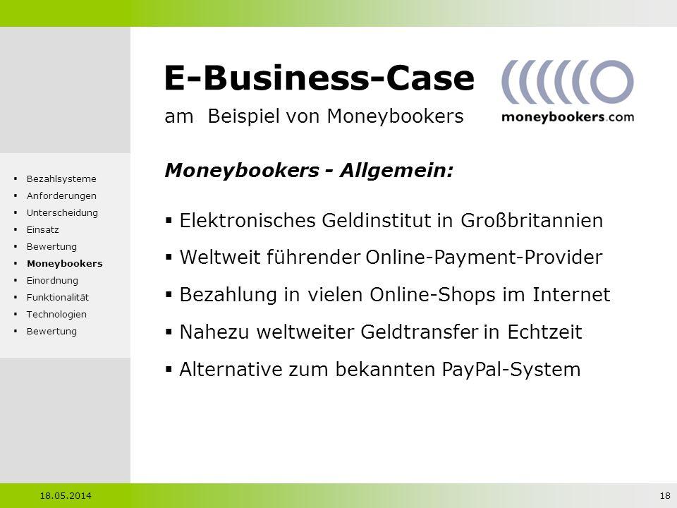 E-Business-Case am Beispiel von Moneybookers Moneybookers - Allgemein: Elektronisches Geldinstitut in Großbritannien Weltweit führender Online-Payment