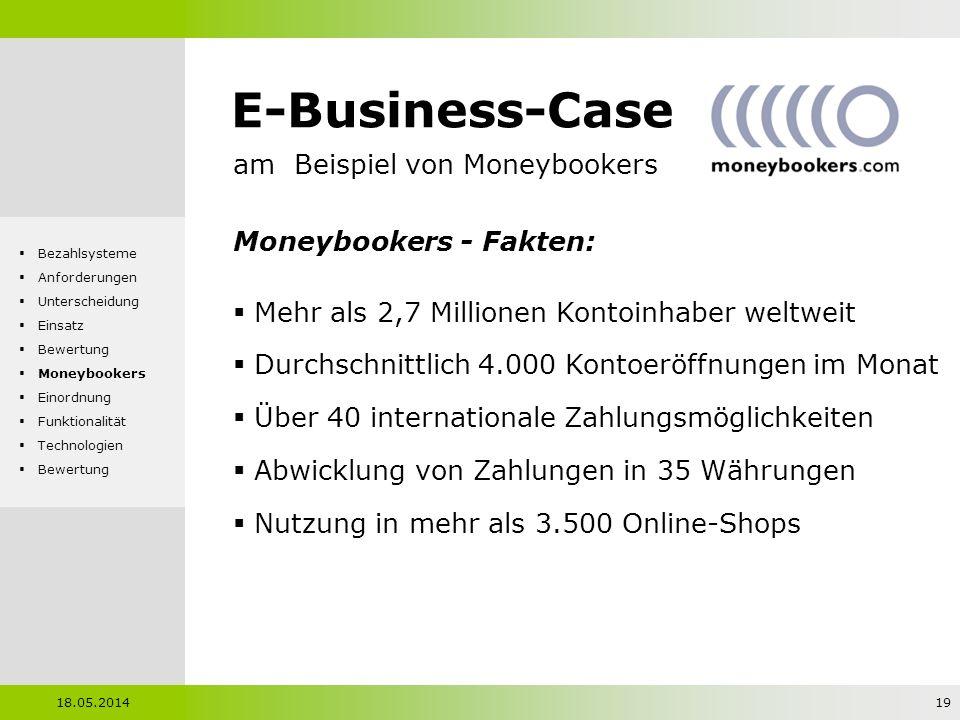E-Business-Case am Beispiel von Moneybookers Moneybookers - Fakten: Mehr als 2,7 Millionen Kontoinhaber weltweit Durchschnittlich 4.000 Kontoeröffnung