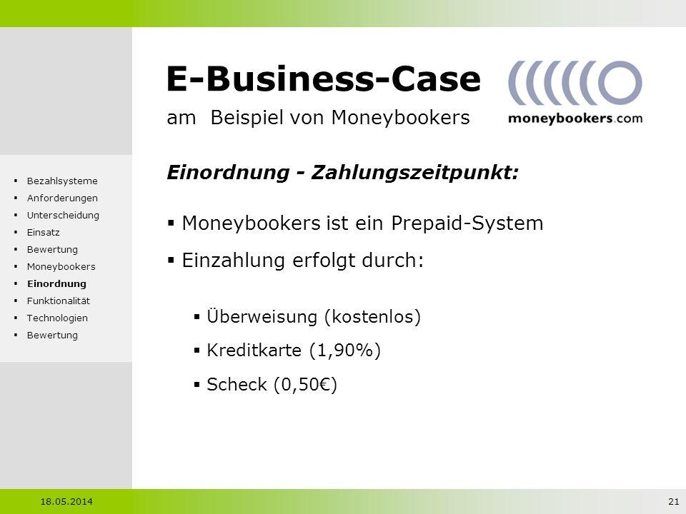 E-Business-Case am Beispiel von Moneybookers Einordnung - Zahlungszeitpunkt: Moneybookers ist ein Prepaid-System Einzahlung erfolgt durch: Überweisung