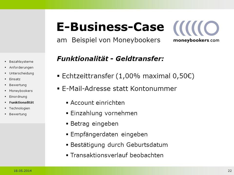 E-Business-Case am Beispiel von Moneybookers Funktionalität - Geldtransfer: Echtzeittransfer (1,00% maximal 0,50) E-Mail-Adresse statt Kontonummer Acc