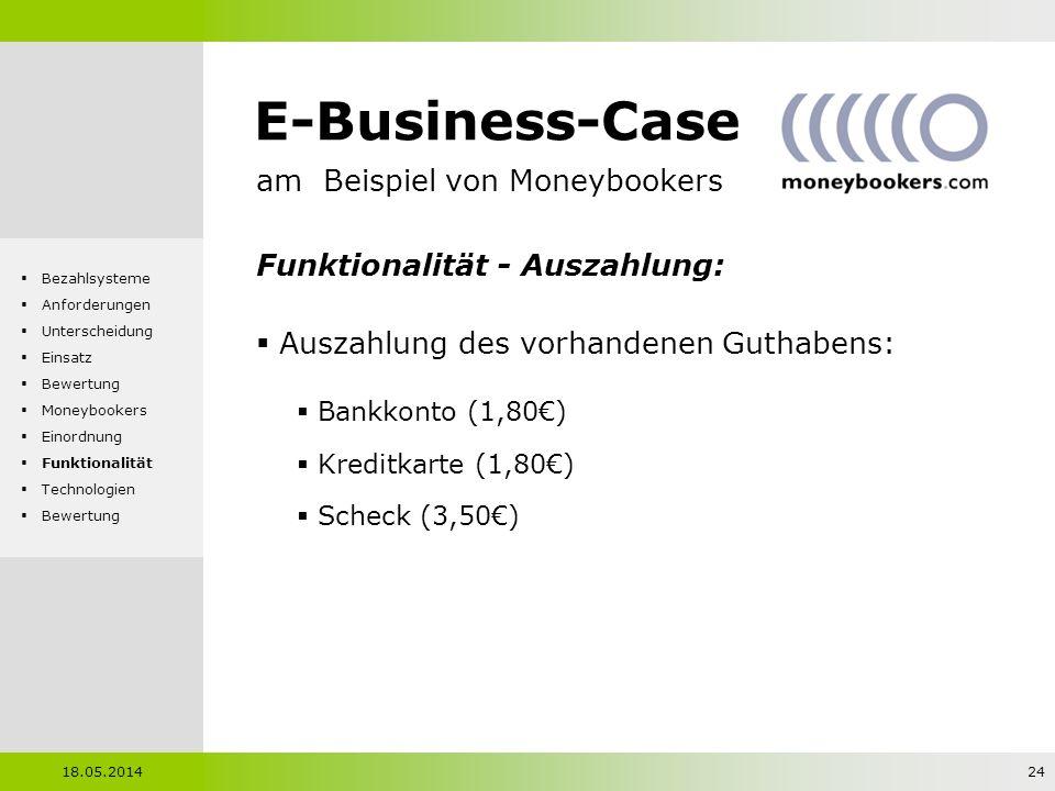 E-Business-Case am Beispiel von Moneybookers Funktionalität - Auszahlung: Auszahlung des vorhandenen Guthabens: Bankkonto (1,80) Kreditkarte (1,80) Sc