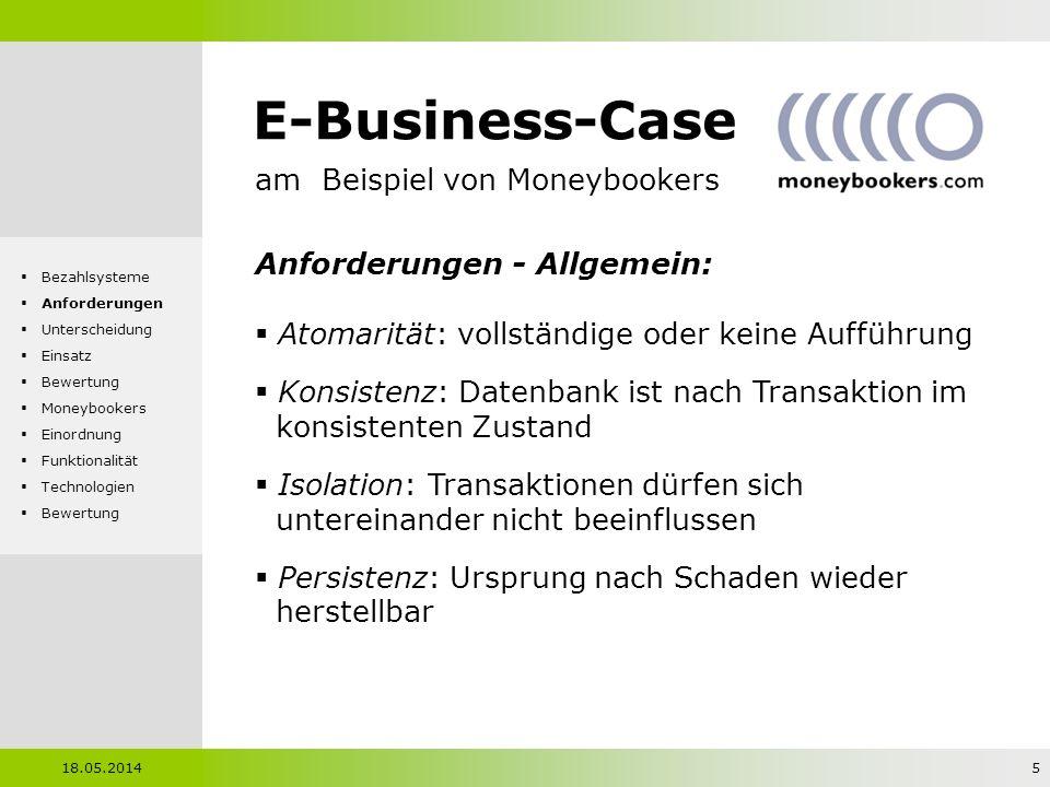 E-Business-Case am Beispiel von Moneybookers Anforderungen - Allgemein: Atomarität: vollständige oder keine Aufführung Konsistenz: Datenbank ist nach