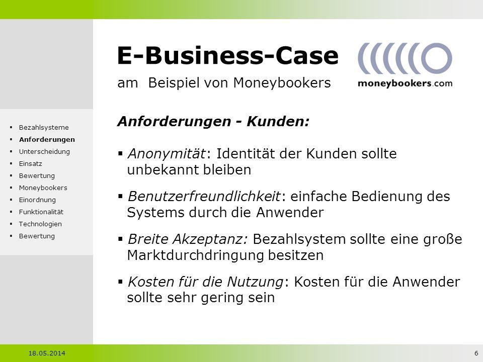 E-Business-Case am Beispiel von Moneybookers Anforderungen - Kunden: Anonymität: Identität der Kunden sollte unbekannt bleiben Benutzerfreundlichkeit: