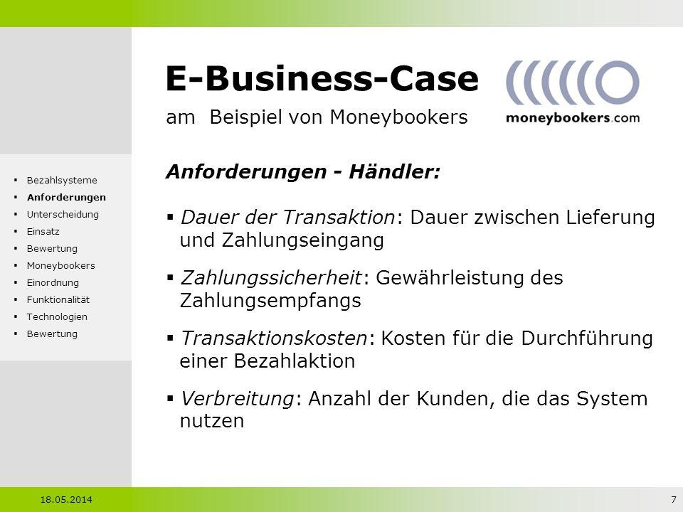 E-Business-Case am Beispiel von Moneybookers Unterscheidung - Zahlungszeitpunkt: Pre-Paid Kunde bezahlt vor Erhalt der Ware Pay-Now Kunde bezahlt bei Erhalt der Ware Pay-Later Kunde bezahlt nach Erhalt der Ware 18.