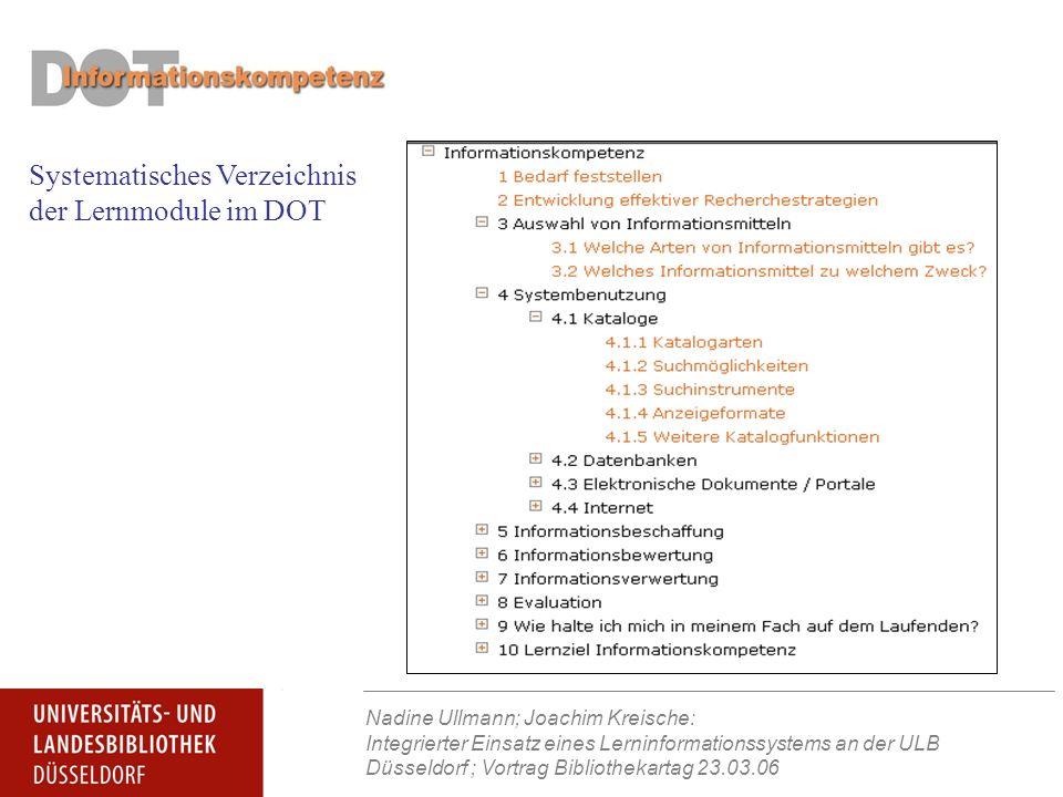 Nadine Ullmann; Joachim Kreische: Integrierter Einsatz eines Lerninformationssystems an der ULB Düsseldorf ; Vortrag Bibliothekartag 23.03.06 Systematisches Verzeichnis der Lernmodule im DOT