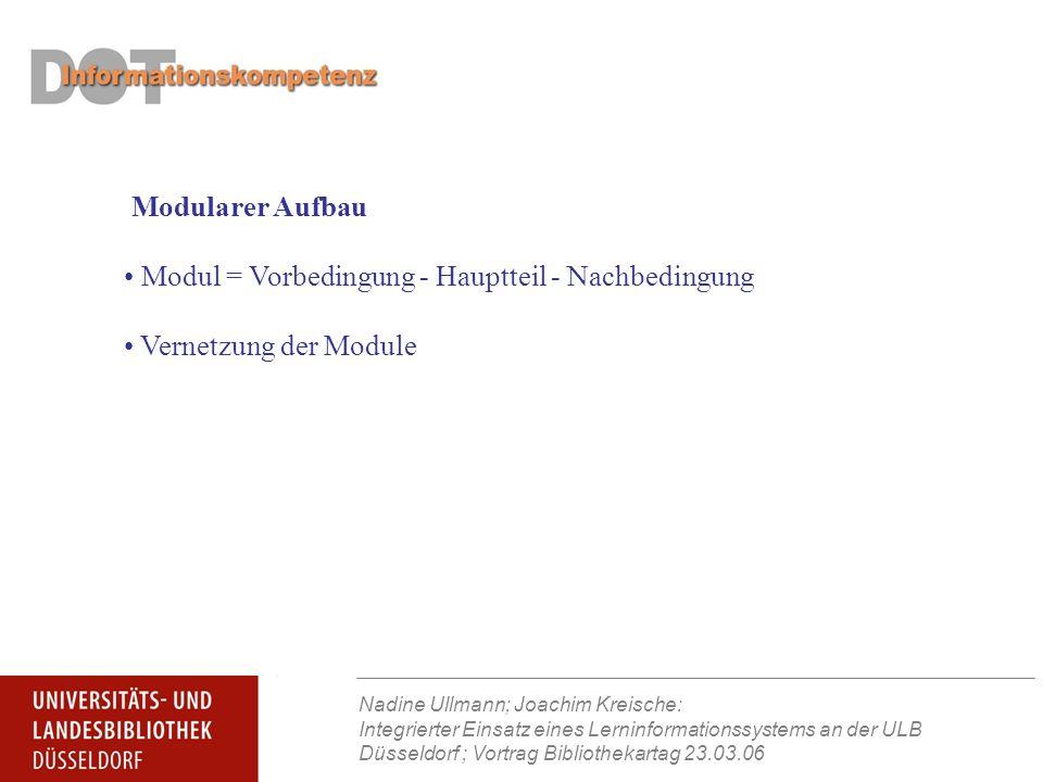 Nadine Ullmann; Joachim Kreische: Integrierter Einsatz eines Lerninformationssystems an der ULB Düsseldorf ; Vortrag Bibliothekartag 23.03.06 Vernetzung der Module