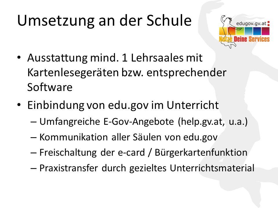 14 Umsetzung an der Schule Ausstattung mind. 1 Lehrsaales mit Kartenlesegeräten bzw. entsprechender Software Einbindung von edu.gov im Unterricht – Um