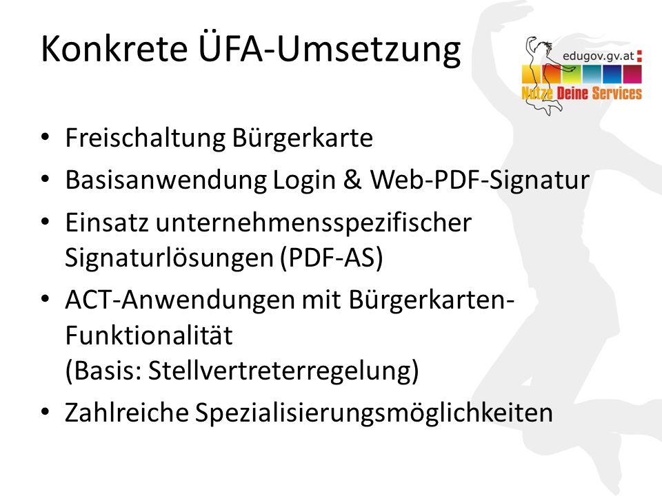 16 Konkrete ÜFA-Umsetzung Freischaltung Bürgerkarte Basisanwendung Login & Web-PDF-Signatur Einsatz unternehmensspezifischer Signaturlösungen (PDF-AS)