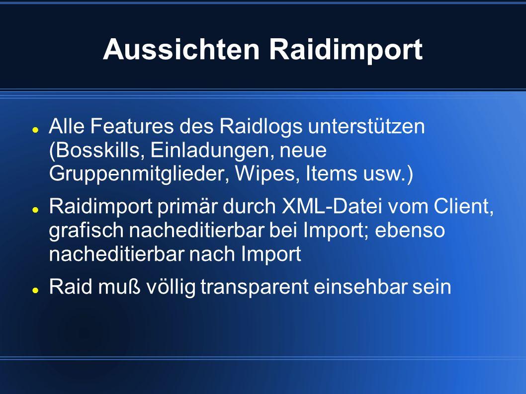 Aussichten Raidviewer Raidviewer spiegelt alle Informationen des Raidimports wider Zeitpunkt der Kills, Anwesenheit, Drops Link zu div.