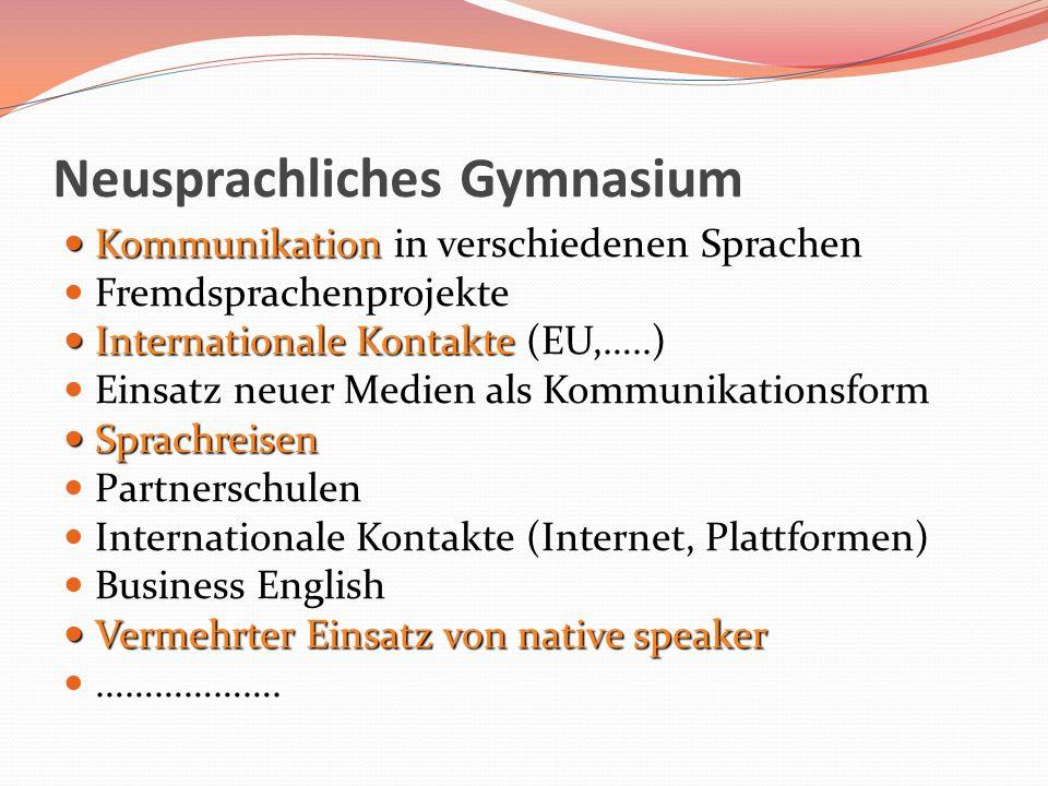 Neusprachliches Gymnasium Kommunikation Kommunikation in verschiedenen Sprachen Fremdsprachenprojekte Internationale Kontakte Internationale Kontakte