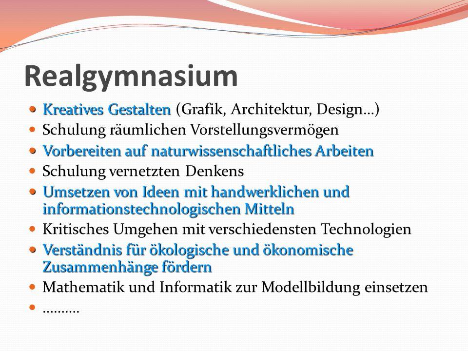 Realgymnasium Kreatives Gestalten Kreatives Gestalten (Grafik, Architektur, Design…) Schulung räumlichen Vorstellungsvermögen Vorbereiten auf naturwis