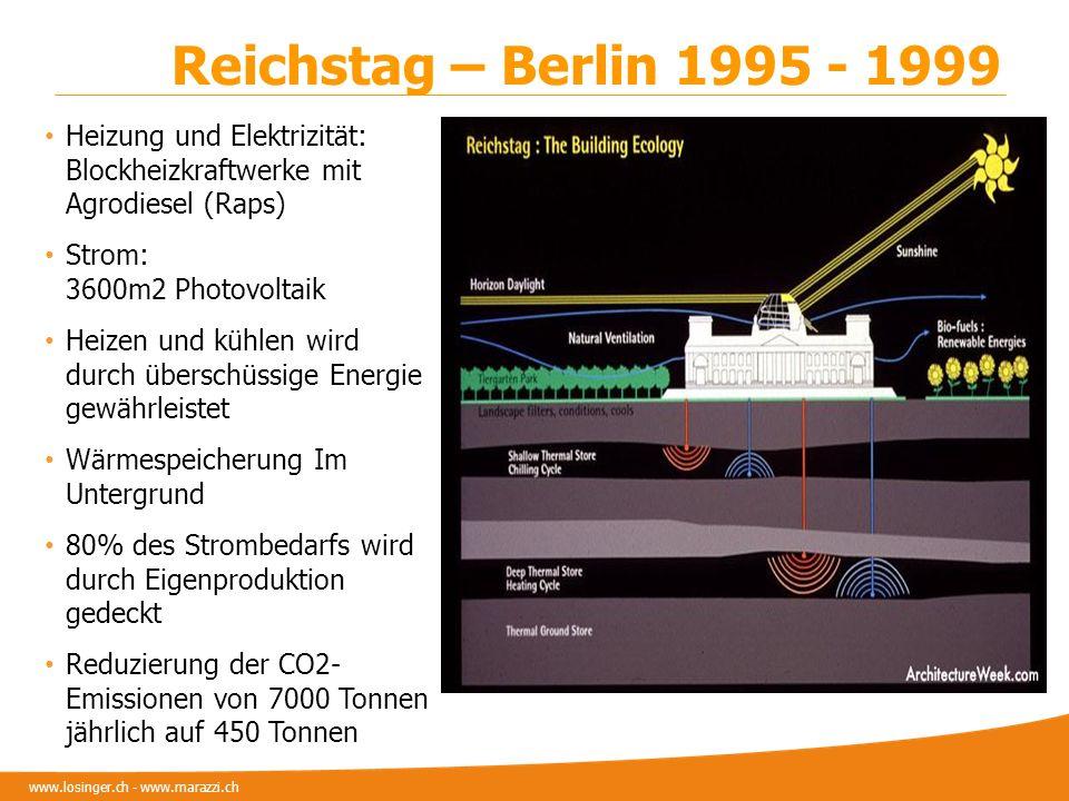 www.losinger.ch - www.marazzi.ch Reichstag – Berlin 1995 - 1999 Heizung und Elektrizität: Blockheizkraftwerke mit Agrodiesel (Raps) Strom: 3600m2 Phot