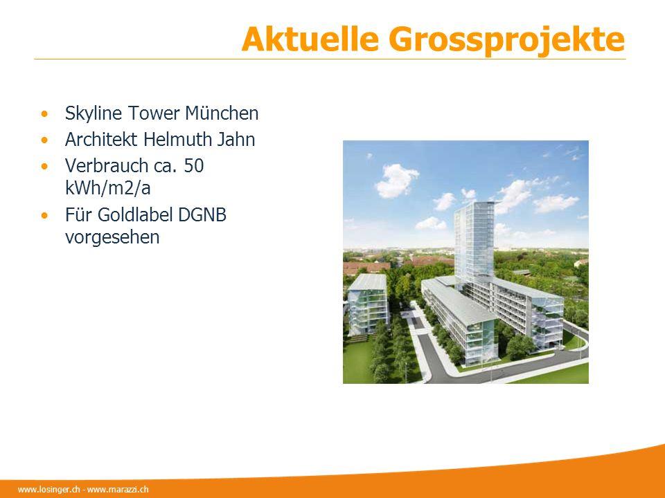 www.losinger.ch - www.marazzi.ch Aktuelle Grossprojekte Skyline Tower München Architekt Helmuth Jahn Verbrauch ca. 50 kWh/m2/a Für Goldlabel DGNB vorg