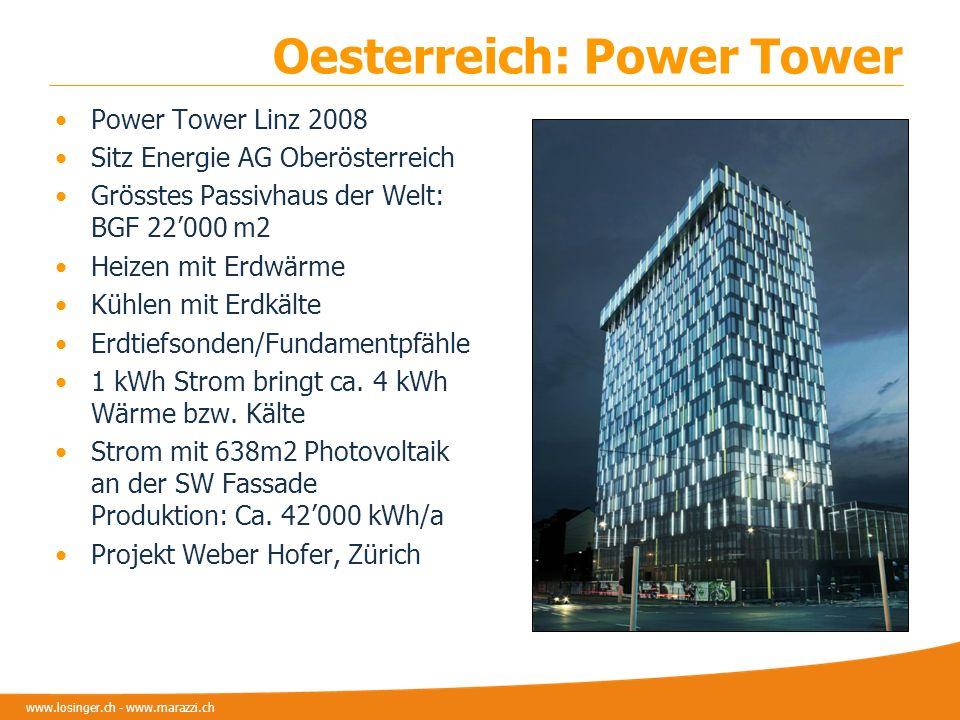 www.losinger.ch - www.marazzi.ch Oesterreich: Power Tower Power Tower Linz 2008 Sitz Energie AG Oberösterreich Grösstes Passivhaus der Welt: BGF 22000