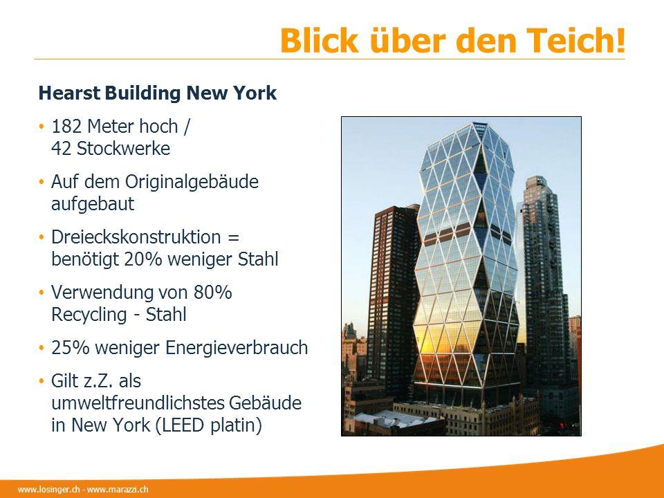 www.losinger.ch - www.marazzi.ch Blick über den Teich! Hearst Building New York 182 Meter hoch / 42 Stockwerke Auf dem Originalgebäude aufgebaut Dreie