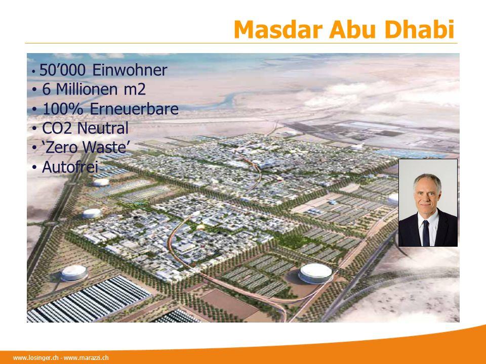www.losinger.ch - www.marazzi.ch 50000 Einwohner 6 Millionen m2 100% Erneuerbare CO2 Neutral Zero Waste Autofrei Masdar Abu Dhabi