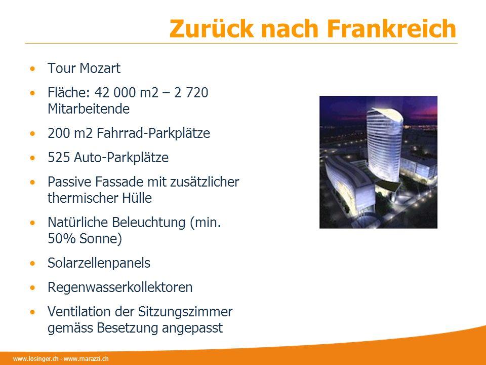 www.losinger.ch - www.marazzi.ch Zurück nach Frankreich Tour Mozart Fläche: 42 000 m2 – 2 720 Mitarbeitende 200 m2 Fahrrad-Parkplätze 525 Auto-Parkplä