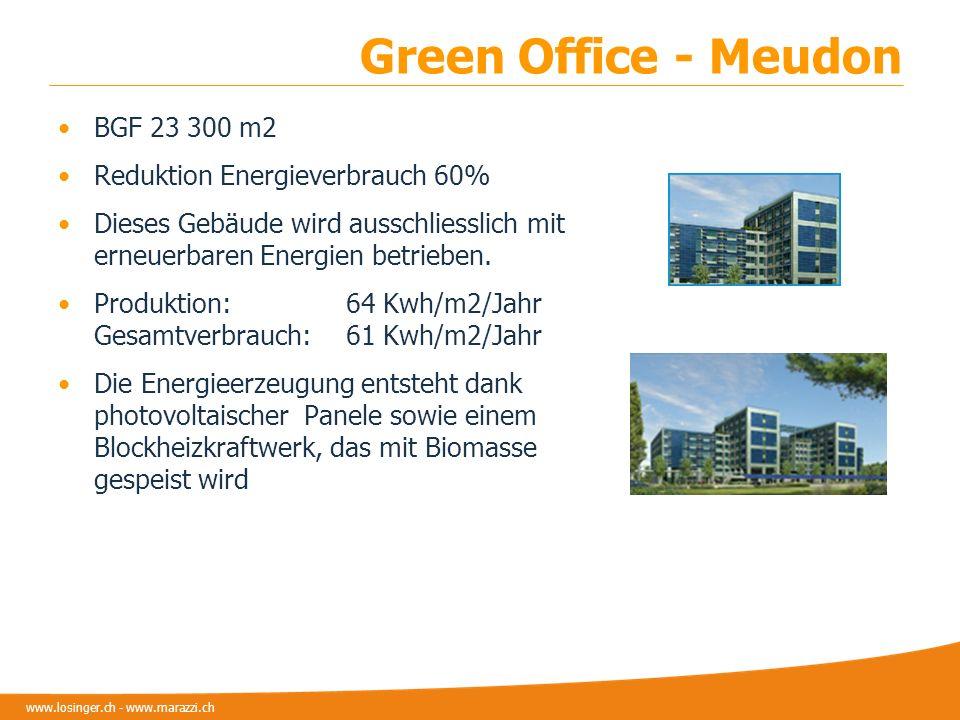www.losinger.ch - www.marazzi.ch Green Office - Meudon BGF 23 300 m2 Reduktion Energieverbrauch 60% Dieses Gebäude wird ausschliesslich mit erneuerbar