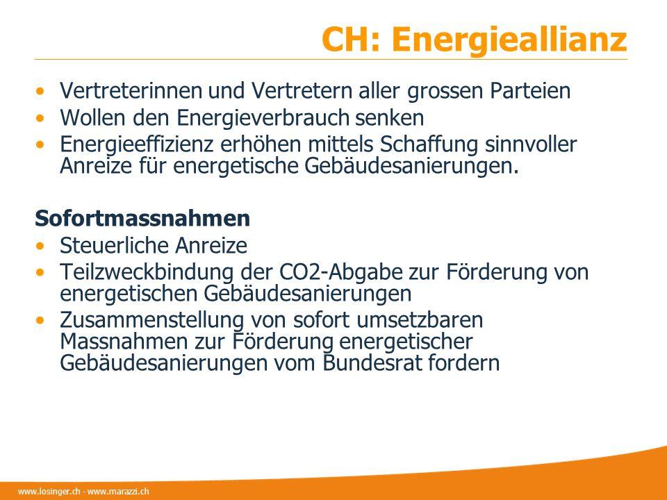 www.losinger.ch - www.marazzi.ch CH: Energieallianz Vertreterinnen und Vertretern aller grossen Parteien Wollen den Energieverbrauch senken Energieeff