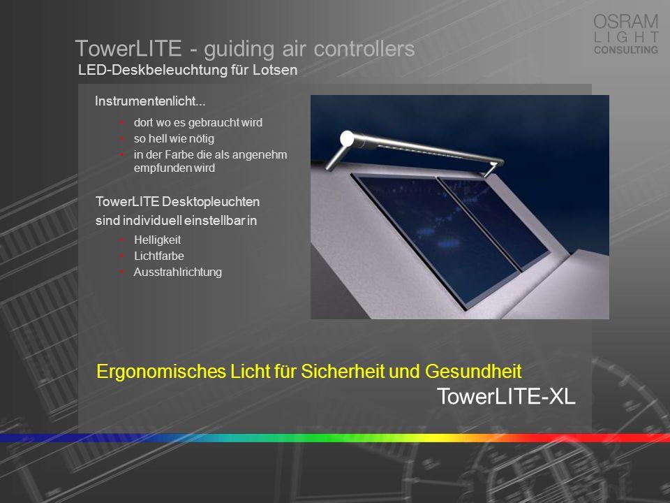 Light Emitting Diodes TowerLITE - guiding air controllers Wartungsfreie Lichtquellen = beste Kosteneffizienz modernste OSRAM-Chip- Technologie 3 Lichtfarben in einer TOP-LED RGB-Farbmischung = einstellbare Lichtfarbe keine Wärmeentwicklung extrem lange Lebensdauer dimmbar an jedem Farbort LED-Deskbeleuchtung für Lotsen OSRAM Light Emitting Diodes