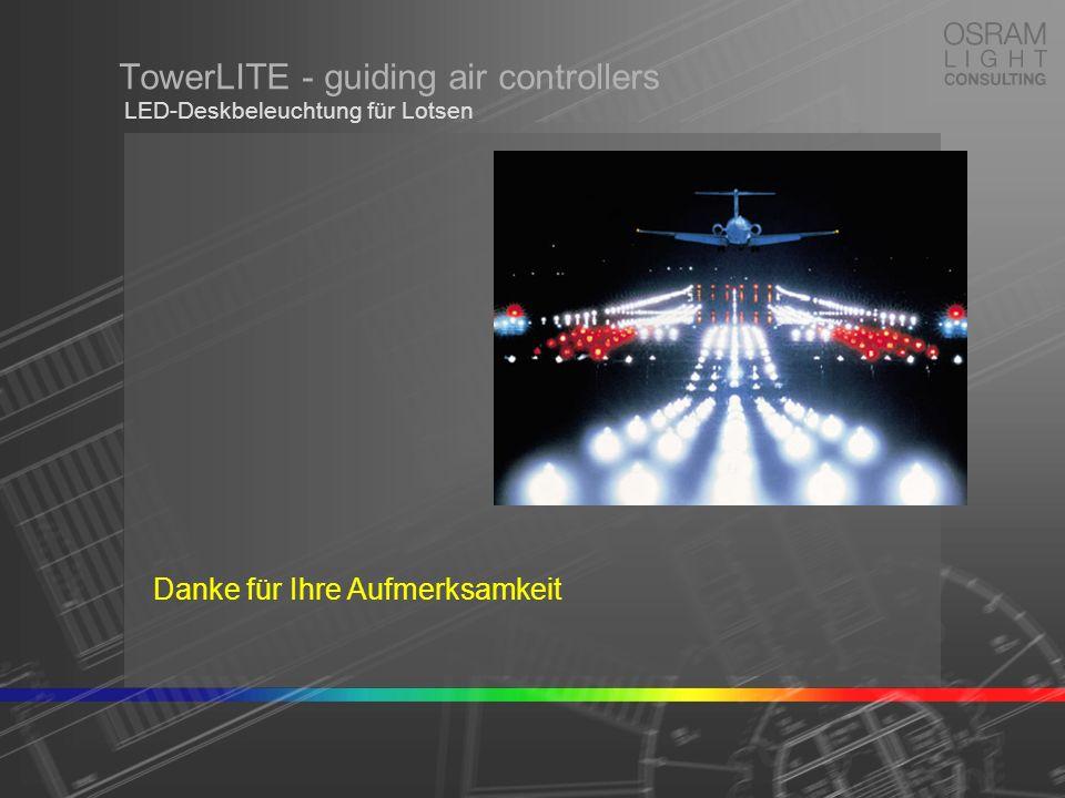 TowerLITE - guiding air controllers LED-Deskbeleuchtung für Lotsen Danke für Ihre Aufmerksamkeit