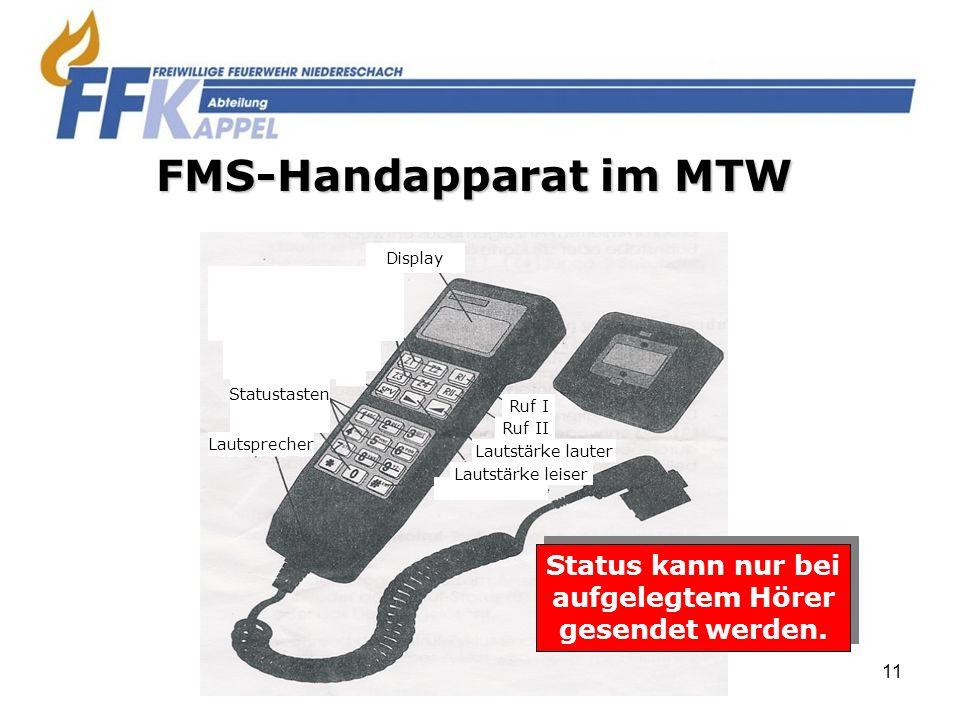 11 Lautsprecher Statustasten Display Ruf I Ruf II Lautstärke lauter Lautstärke leiser FMS-Handapparat im MTW Status kann nur bei aufgelegtem Hörer ges