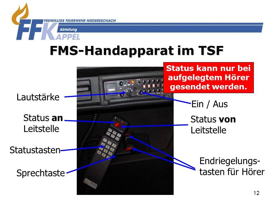 12 FMS-Handapparat im TSF Ein / Aus Status von Leitstelle Endriegelungs- tasten für Hörer Lautstärke Status an Leitstelle Statustasten Sprechtaste Sta